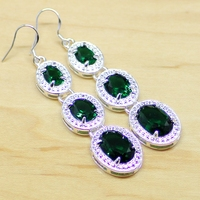 Sterling Silver Jewelry Long Earrings Green Emerald Drop Dangle Earring For Women Free Gift Box Shiiping