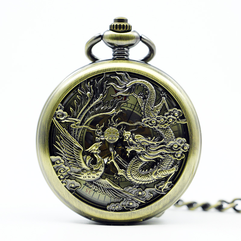 Chinese Flying Dragon&Phoenix Mechanical Pocket Watch Skeleton Steampunk Pocket Watches Chains Fob Clip Clock Gift PJX1272