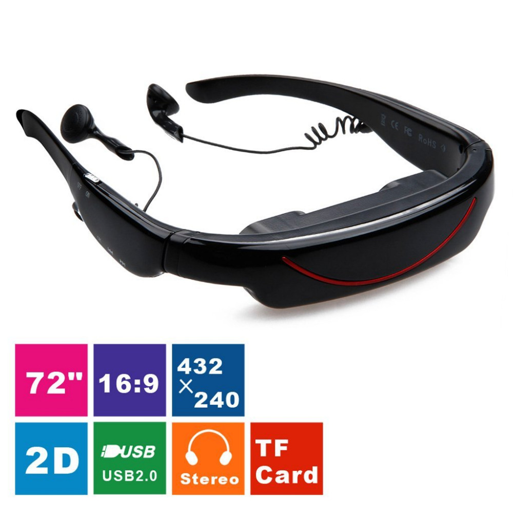 Videobrille 72 Zoll Virtual Screen Theater System 4GB AV-In-Funktion Video Glasses for TV BOX PS2, PS3, Xbox, Wii, PDVD Stereo
