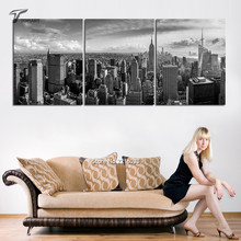 Large 3 Panel Canvas Manhattan New York Cityscape Panorama Modern Wall Art Painting for Home and Office Wall Decor (No Frame)