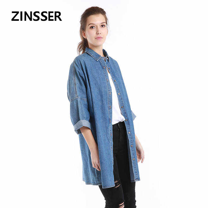 Autumn Winter Women Denim Fancy Shirt Oversize Long Loose Casual 3/4 Length Sleeve Washed Blue Female Lady Blouse Top