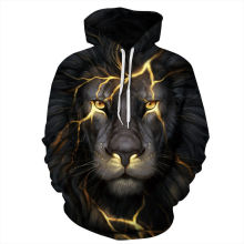 Autumn Winter Men/Women 3d Sweatshirts Digital printing Cracks Lion Halloween Thin