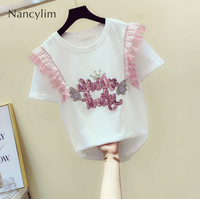 Letter Sequined T shirt for Women In Summer 2019 New Korean Fashion Stitching Screen Yarn Lotus Leaf Edge Shirt Tees Student Top