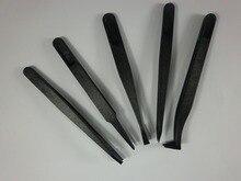 6Pcs/set Anti-static Plastic Tweezer Black New Portable Straight Bend  Heat Resistant Repair PC Mobile phone Watch