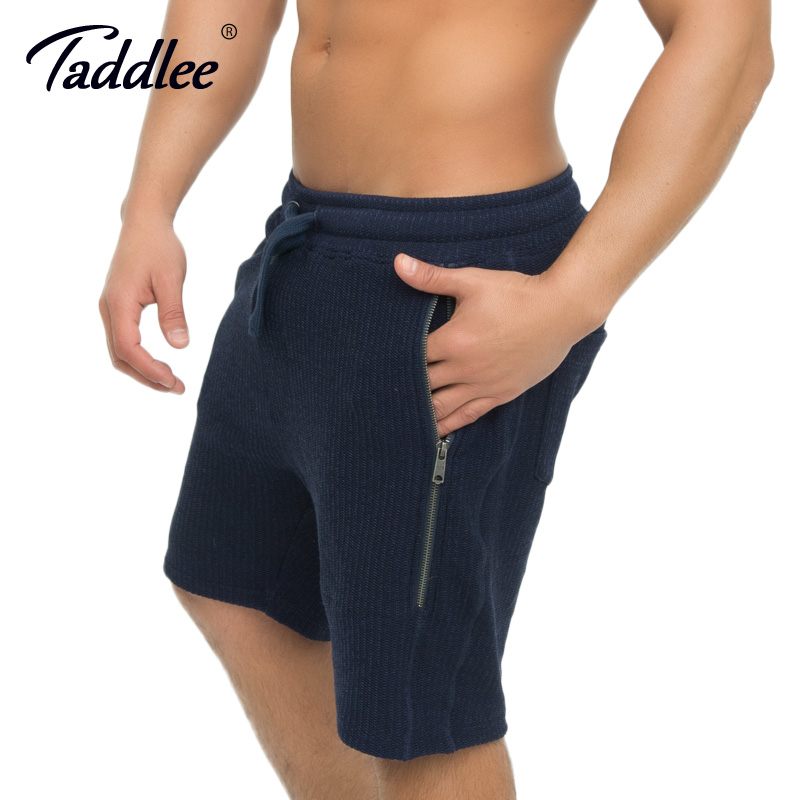 Taddlee Brand Zipper Men Shorts Fitness Jogger Sweatpants Workout Casual Loose Short Trousers Soft Bottom Gasp Boxer Trunk Cargo