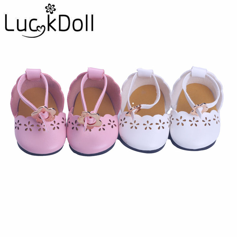 Luckdoll Solid Color Hollow Out Shoes with Bandages for 18 Inch American Girl Dolls Acce ...