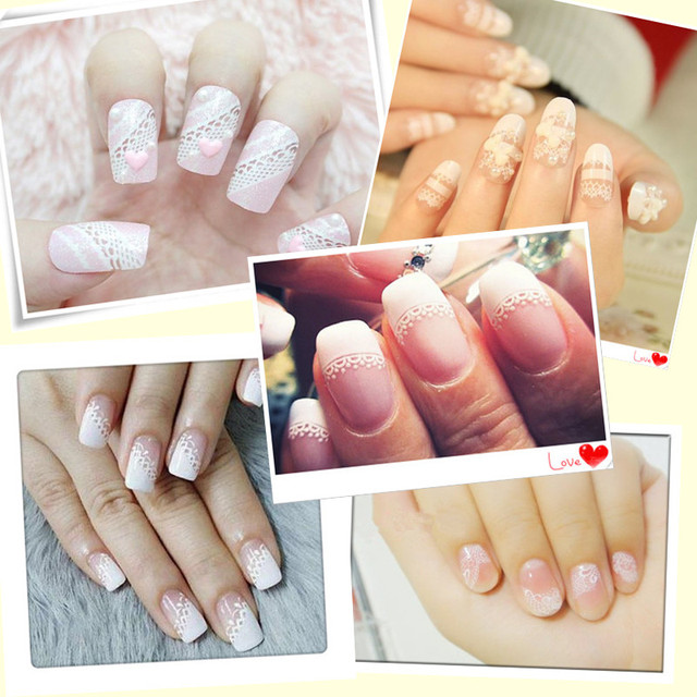 30Sheets/Lot White Lace Nail Stickers,3D Mix