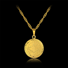 New Fashion European Round Ancient Coin Pendant Necklace For Women/Men Gold Color Fine Turkey Coins Jewelry Gift