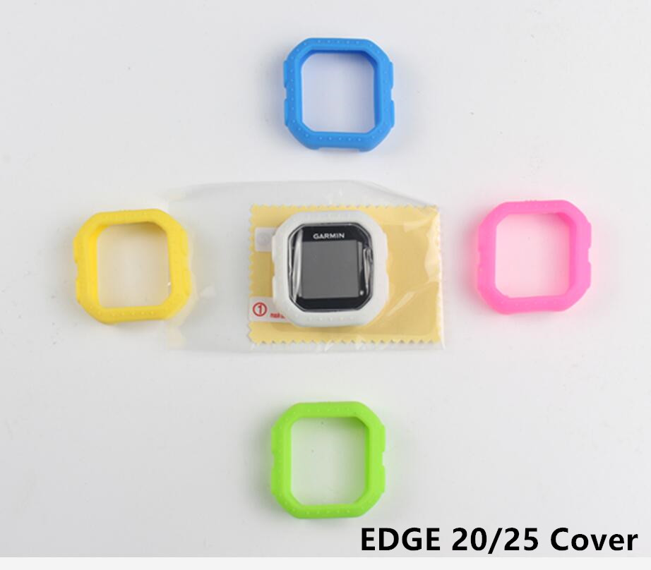 Outdoor Cycling Edge 20 25 computer Silicone Rubber Protect Case + LCD Screen Film Protector For Garmin Edge 20/25