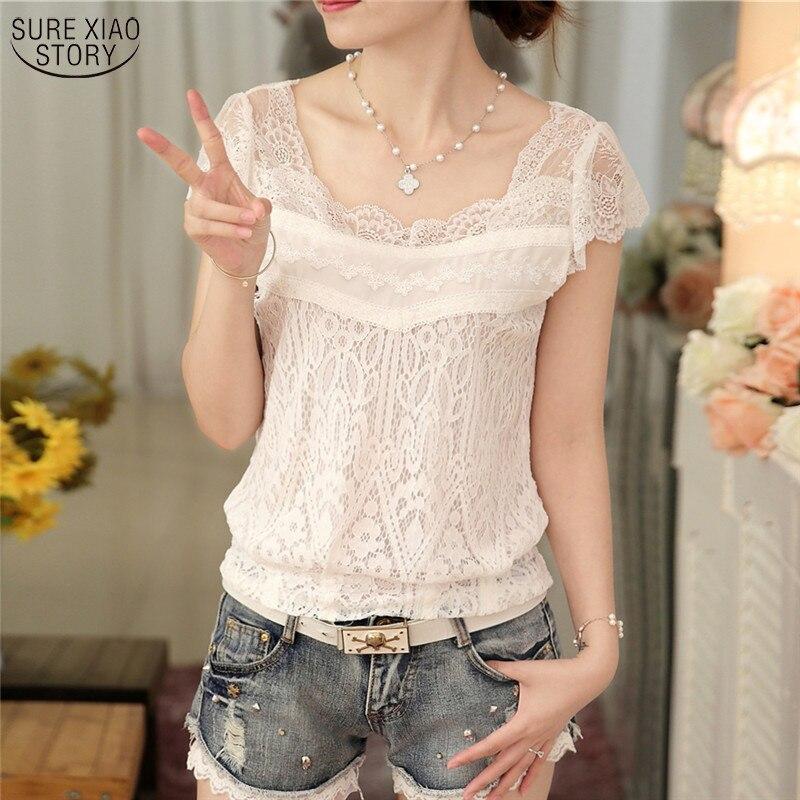 Summer 2019 New Korean Style V-neck Female Blouse Short -sleeve White Lace Slim Elegant Solid Color Women Shirt 59F 25