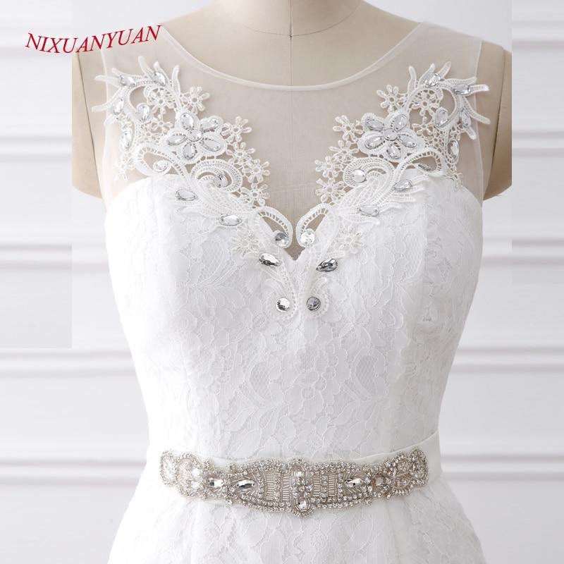 NIXUANYUAN 2018 Nya Eleganta Appliques O Halsvita Elfenbenet - Bröllopsklänningar - Foto 5