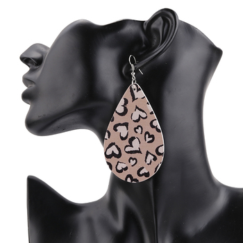AENSOA Simple Vintage Leopard Wood Earrings African   Teardrop Drop Earrings For Women Wooden Water Drop Pendant Jewelry Gift 3