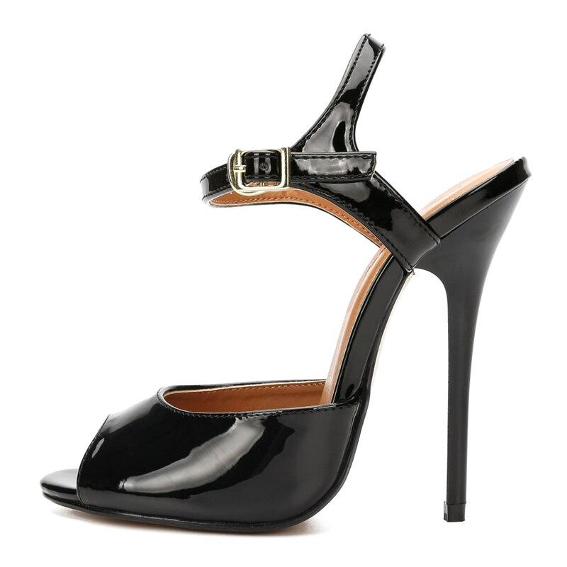 プラスサイズ 48 2019 夏の女性のサンダルのファッションセクシーなアンクルストラップ極端なハイヒールイブニングパーティー結婚式の靴女性黒赤  グループ上の 靴 からの ハイヒール の中 1