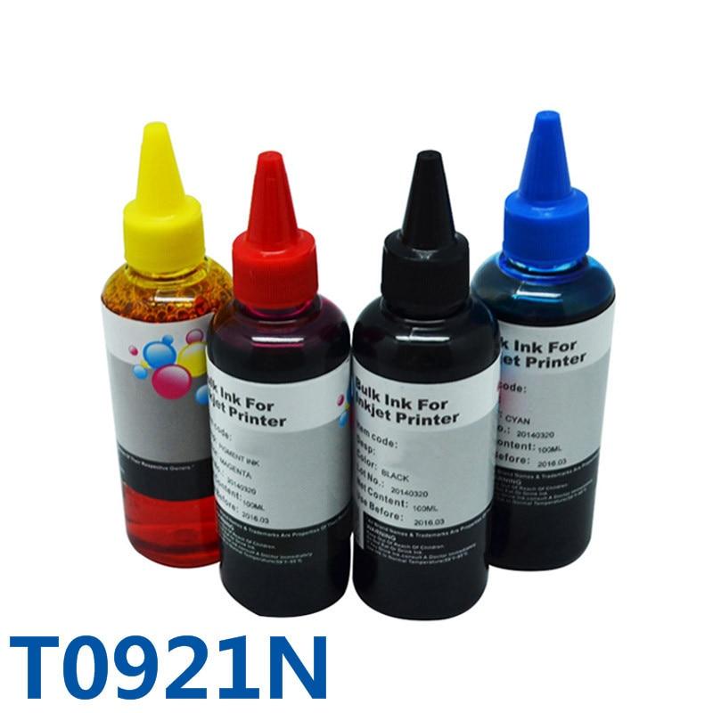 4x100ml T0921N Dye Refill Bulk Ink For Printer For Epson Stylus T26 T27 TX117 TX119 TX106