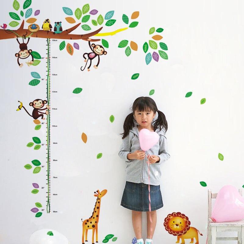 Diy Cartoon Monkey Žirafa Děti Výškové mapy Vinylové samolepky Zvířecí přítel Děti Dětská ložnice Mateřská škola Domácí interiér
