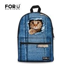 FORUDESIGNS Cute 3D Cat Women Canvas Backpack for Teenage Girls Zoo Animal School Backpacks Student Casual Blue Denim Back Pack