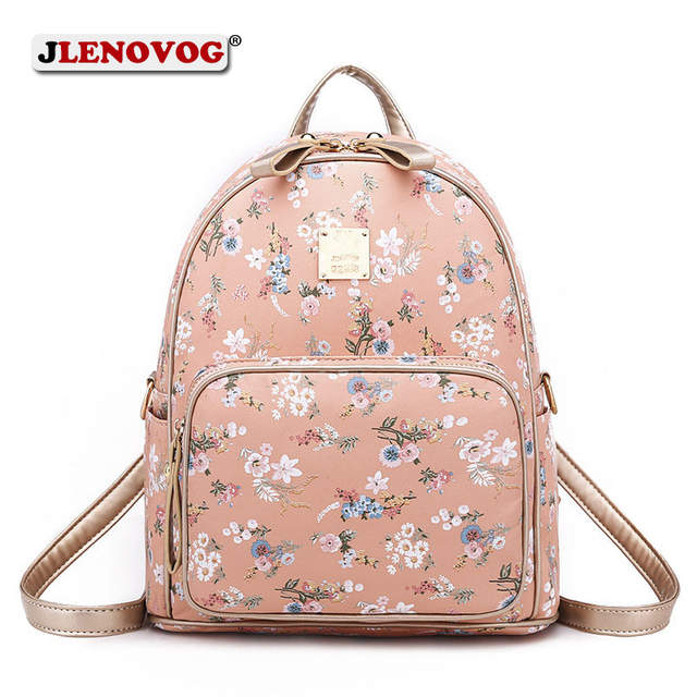 2bd9d5ccdd Fashion Floral Backpack Women Girl PU leather Shoulder Bagpack Mini Sky Blue  Pink Black Print School Bag Lady Casual Pack Purse-in Backpacks from  Luggage ...