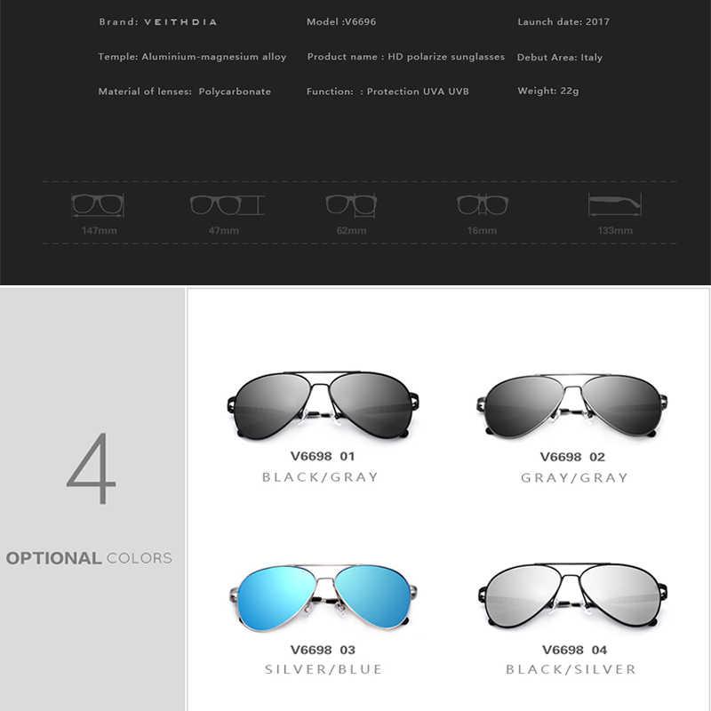 ใหม่มาถึง VEITHDIA วินเทจนักบินออกแบบชายแว่นตากันแดดผู้ชาย/ผู้หญิงแว่นตากันแดด gafas oculos de sol masculino VT6698