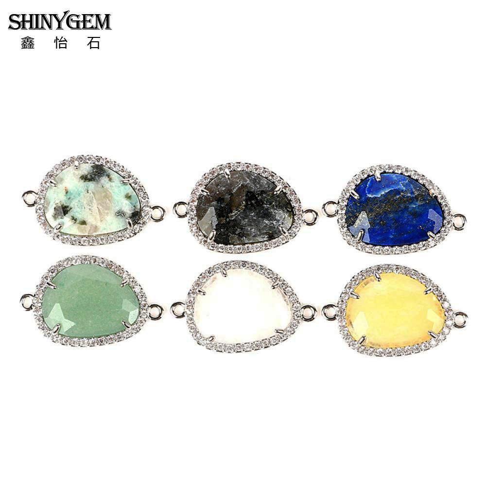 ShinyGem Wholesale Natural Stone Pendant 15 24mm Irregular Gold Silver Gem Stone Pendant Connectors For Jewelry