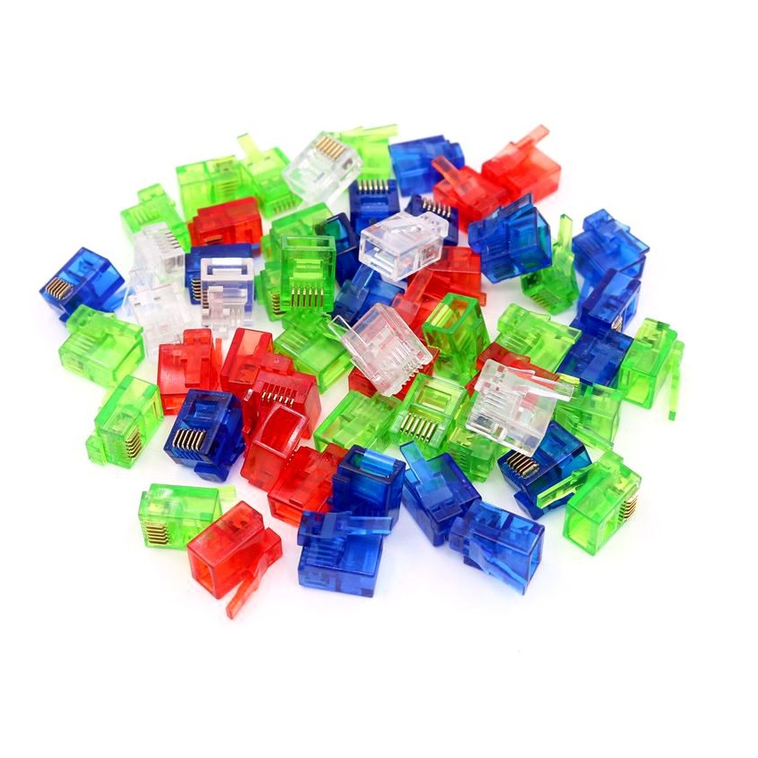 50PCS/lot Colorful RJ12 6P6C Connector Red Blue Green Right Buckle Cable Plug DIY NXT EV3 Cable Plug Crystal Head