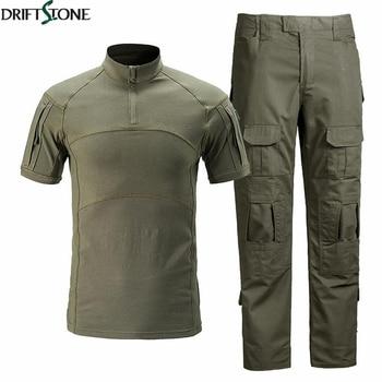 Summer Men Camouflage Tactical Uniforms Airsoft T-shirts Paintball Cargo Pants Set Hunt Cloth Combat Suit Men Military Clothing