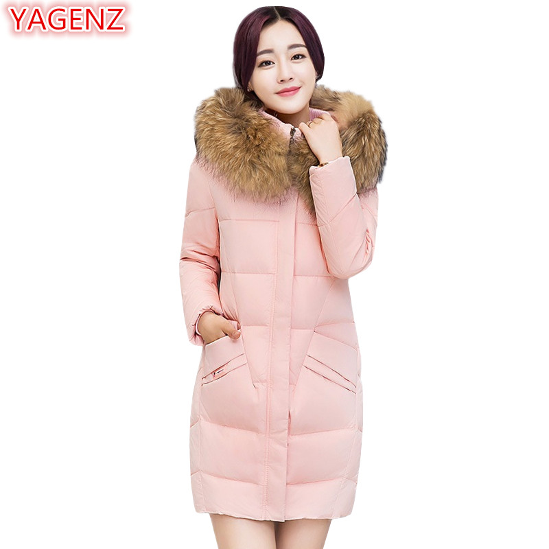 YAGENZ Fashion Winter Women Cotton Coat Keep Warm Cotton Tops Large Size Womens Clothing Long Section Fur Collar Hooded Coat 425 europe and the united states long sleeve hooded keep out the cold winter to keep warm and comfortable cotton coat