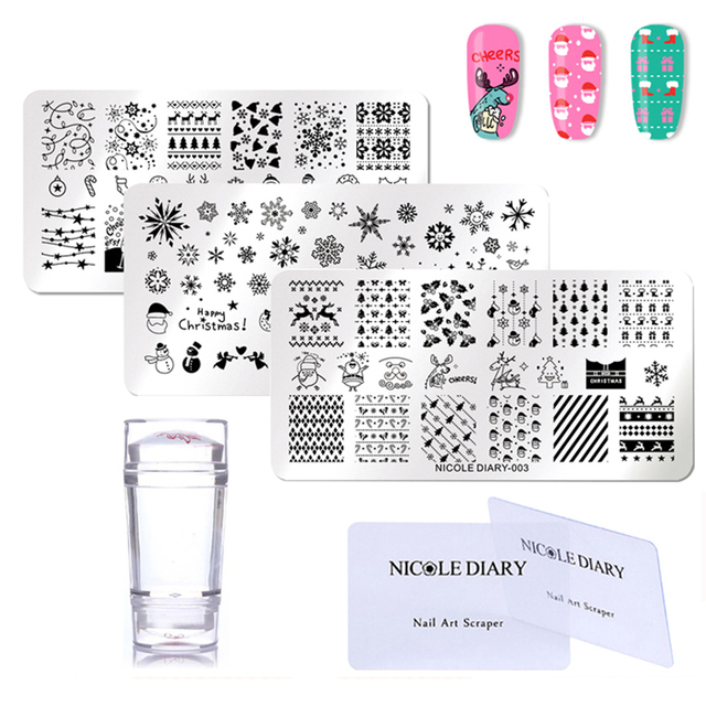 NICOLE DIARY Nail Stamping Plate Set 3 Pcs Christmas Rectangle Stamp