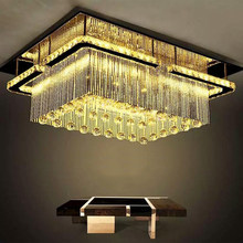 jmmxiuz New rectangular LED chandelier ceiling mounted crystal light hearth chandeliers, sales promotion(China)
