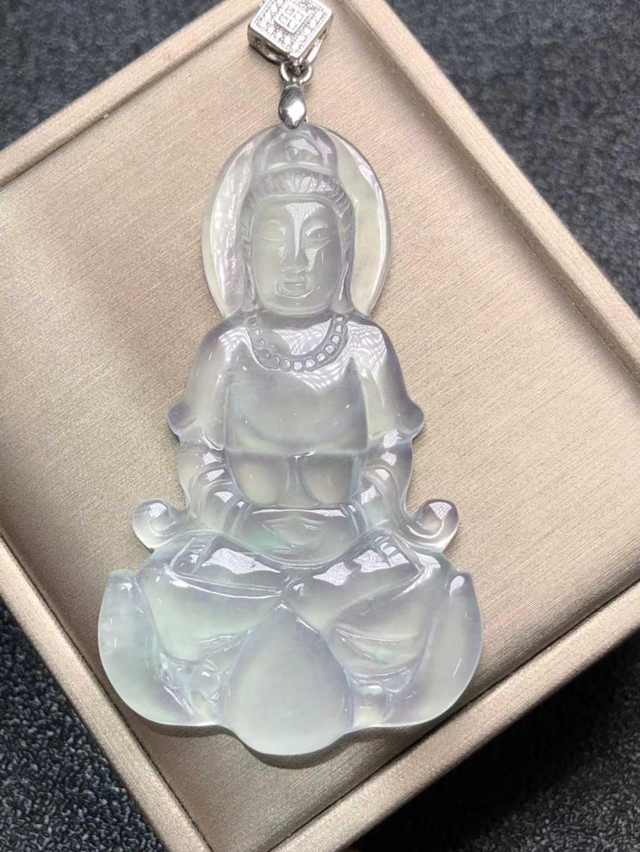 เท่านั้น! น้ำแข็งธรรมชาติ Chalcedony Guanyin Bodhisattva จี้สร้อยคอสร้อยคอเครื่องประดับของขวัญขายส่ง