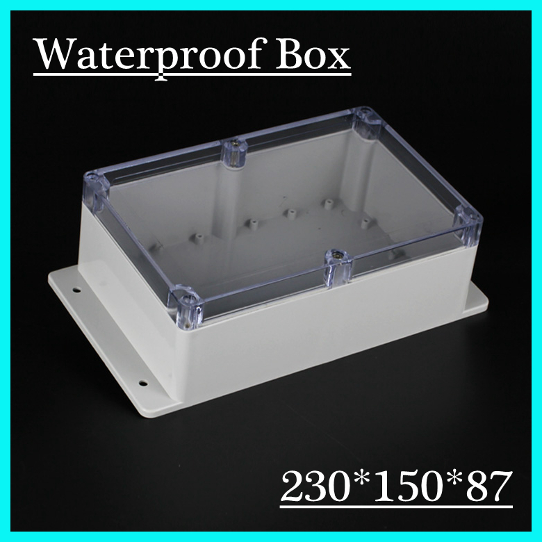 (1 piece/lot) 230*150*87mm Clear ABS Plastic IP65 Waterproof Enclosure PVC Junction Box Electronic Project Instrument Case 65 95 55mm waterproof case