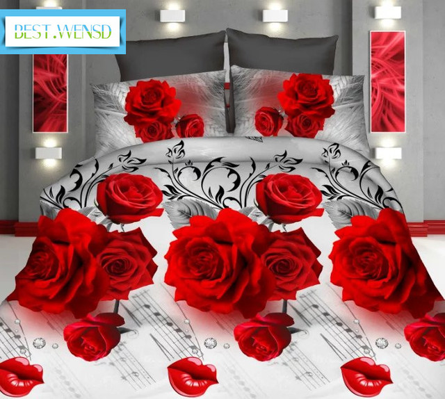 BEST.WENSD 3D Bedclothes red Rose jacquard wedding decorations 3/4pcs Bedding Set King size 1 Duvet cover+1 sheet+2 pillowcovers