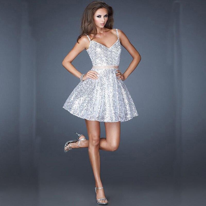 Silver Sequin Short Homecoming Dresses 2016 V neck Cute Short ...