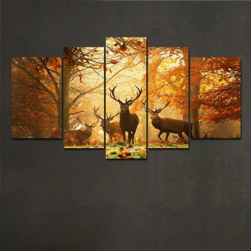 Forest elk painting 5 piece large canvas print wall art modular painting on decoration oil paint decorative pictures/E-WY-56