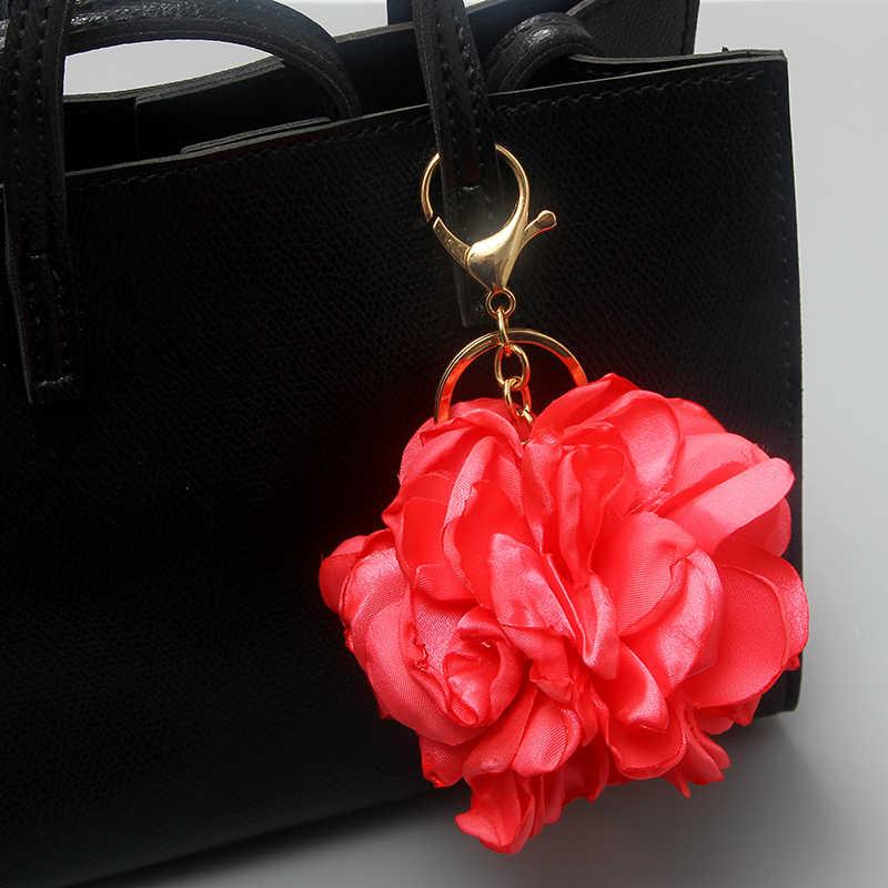 SUKI/модные женские Брелки с розовым цветком, застежка-карабин, брелок с пряжкой, чехол для ключей, Сумка с подвесками, аксессуары для автомобиля, украшения