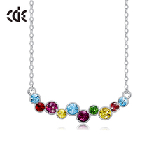 CDE 925 Sterling Silver Necklace Embellished with crystals from Swarovski Women Multi Color Jewelry Charm Gift