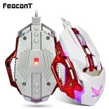 Professional เมาส์สำหรับเล่นเกม LED Light USB สายเกมเม้าส์ 8 ปุ่ม 4000 Dpi สำหรับ PC แล็ปท็อป Gamer E   กีฬา