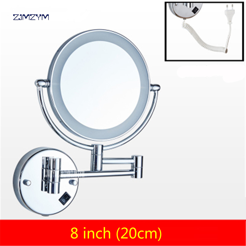 8 inch LED brass cosmetic mirror wall mounted bathroom mirror double faced retractable makeup mirror folding mirror with led