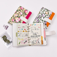 Creative A6 Diary Notebook for Girls PU Leather Cover Weekly Planner Address Book Kawaii Floral Notepad Stationery Agenda 2019