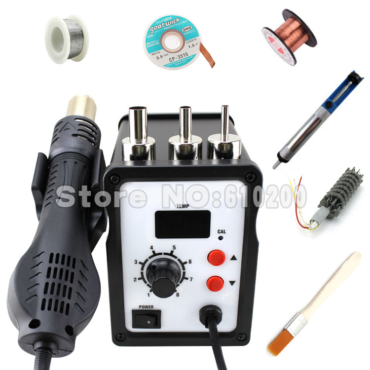 ESD BGA Soldering Station LED Digital Hot Air Gun BGA Rework station equip set 220V 700W +heater +soldering wick,EU yihua 898d led digital 700w lead free smd desoldering soldering station hot air soldering station