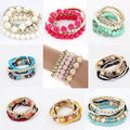 Women Handmade New Style Beaded Bracelet Bohemia Stretch Multilayer Bead Flower Charm Bangle Elastic Gift
