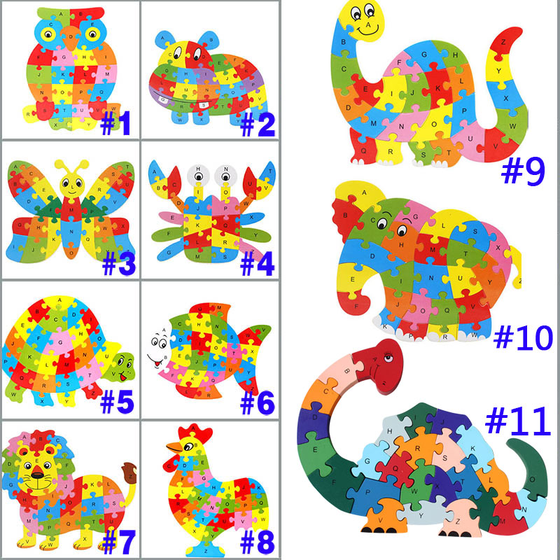 26 Patterns Wooden Animal Alphabet Early Learning Puzzle Jigsaw For Kids Baby Educational Learing Intelligent Toys M09