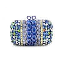 Vintage Women Blue Beaded Clutch Bag Sequined Diamond Handbag Bridal Wedding Party Metal Clutches Purse Minaudiere