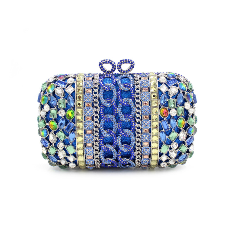 Vintage Women blue Beaded Clutch Bag Sequined Diamond Handbag Bridal Wedding Party Metal Clutches Purse Minaudiere Evening Bag