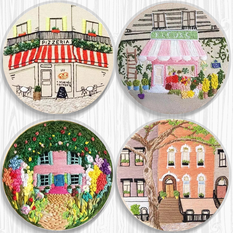 DIY Ribbon Embroidery Set For Beginner Needlework Kits Europe Town Scenery Cross Stitch Series Needle Arts Crafts Sewing Decor