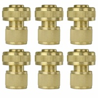 6Pcs Brass Garden Lawn 3/4 Water Hose Pipe Fitting Quick Connector