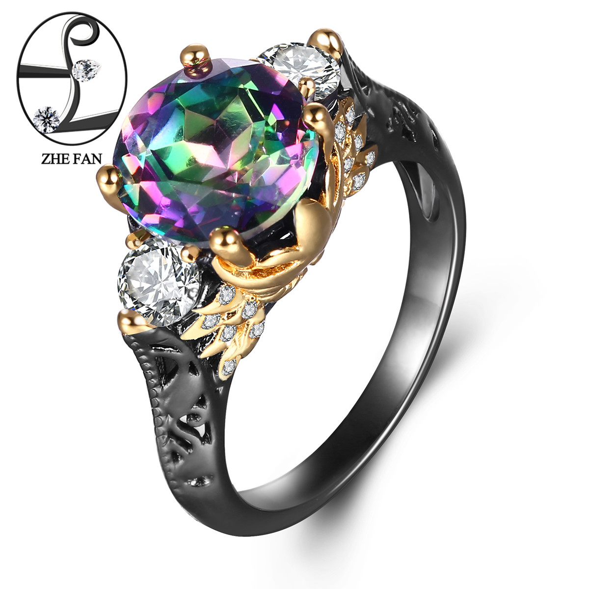 ZHE FAN Top Quality Vintage Ring Rainbow Synthetic Quartz Crystal Black Gold Color 2 Tone Plating Ring For Women Valentine's Day kcchstar gold plating zinc alloy crystal finger ring for women golden transparent us size 8