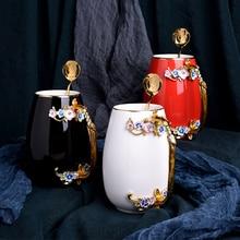Европейская креативная Новинка эмалированная кофейная чашка кружка цветочный чай керамические чашки для горячих и холодных напитков молочный сплав рукоятки чашки и кружки