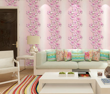 Modern flower wallpapers sofa background bedroom living room clothing shop beauty salon hotel pink blue wall decor pink blue