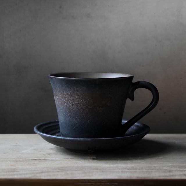 ... Handmade Coffee Ceramic Cup Retro Personalized Ceramic Mug Past Coffee  Cup Black Handmade Cup Perfect Pottery ...
