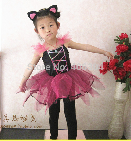 Free shipping ,halloween dress up costume  COSPLAY children dark pink cat dress with headband and tail